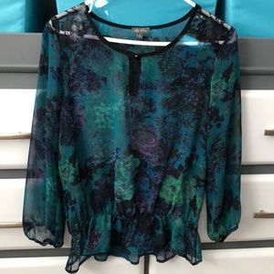 Sheer Teal Dressy Top by Lily Rose